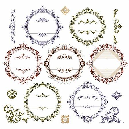 elegant wedding floral graphic - set of royal vintage frames vector illustration Stock Photo - Budget Royalty-Free & Subscription, Code: 400-05905260