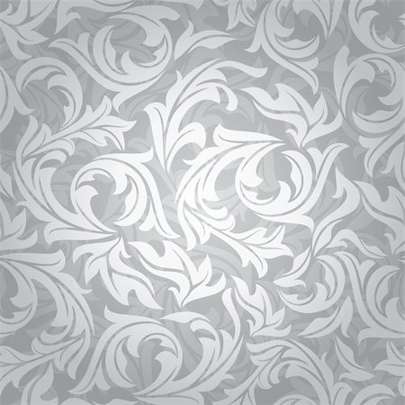 seamless floral - abstract seamless silver floral background vector illustration Stock Photo - Budget Royalty-Free & Subscription, Code: 400-05905274