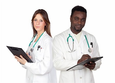 Couple of young doctors a over white background Stock Photo - Budget Royalty-Free & Subscription, Code: 400-05905406