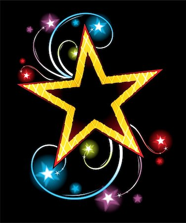 firework illustration - Big gold star on black background with flares and glowing stars Stock Photo - Budget Royalty-Free & Subscription, Code: 400-05905508