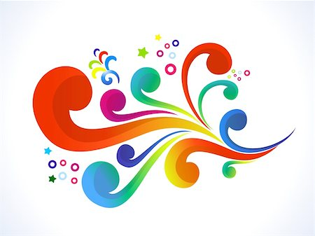 abstract colorful floral  vector illustration Stock Photo - Budget Royalty-Free & Subscription, Code: 400-05905526