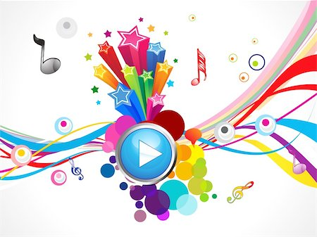 abstract colorful play music concept vector illustration Stock Photo - Budget Royalty-Free & Subscription, Code: 400-05905522