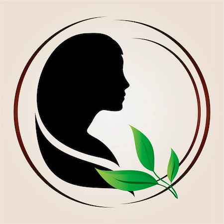 Illustration of female profile silhouette with green leaves near it Stock Photo - Budget Royalty-Free & Subscription, Code: 400-05905616