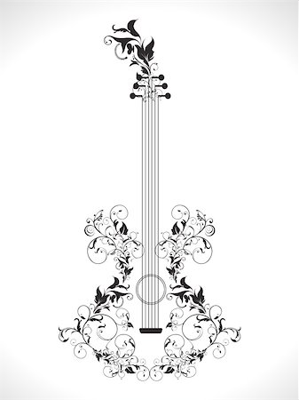 quarter note - abstract ornamental floral based guitar vector illustration Stock Photo - Budget Royalty-Free & Subscription, Code: 400-05905636