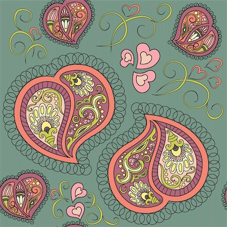 Cute ornamental colorful heart paisley seamless pattern Stock Photo - Budget Royalty-Free & Subscription, Code: 400-05905790