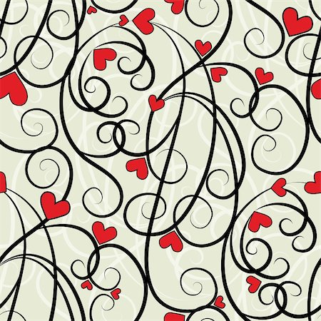svetap (artist) - Wave floral heart seamless background. Summer curl, swirl love ornament. Valentine pattern vector illustration. Stock Photo - Budget Royalty-Free & Subscription, Code: 400-05905831