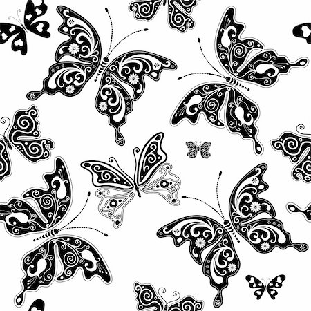 Seamless white graphic pattern with vintage butterflies (vector) Stock Photo - Budget Royalty-Free & Subscription, Code: 400-05905914