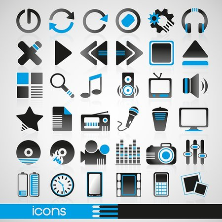 silhouette musical symbols - Set of icons for audio and Internet Stock Photo - Budget Royalty-Free & Subscription, Code: 400-05905955