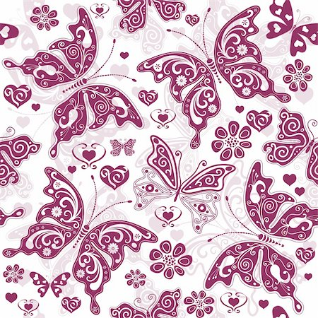 White and purple  seamless floral valentine pattern with butterflies and hearts (vector) Stock Photo - Budget Royalty-Free & Subscription, Code: 400-05906226