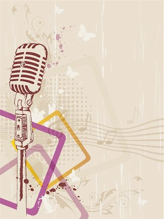 retro music background with microphone and floral ornament Stock Photo - Budget Royalty-Free & Subscription, Code: 400-05906579