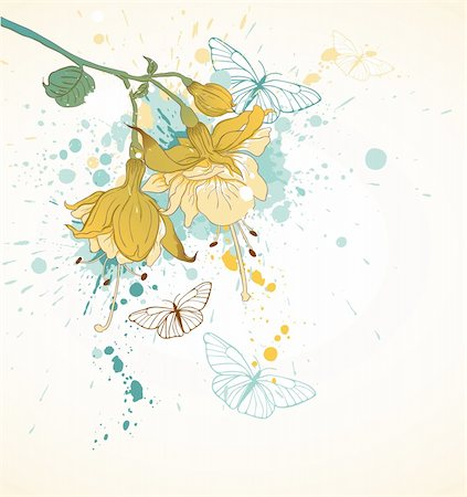 grunge floral background with butterflies and yellow flowers Stock Photo - Budget Royalty-Free & Subscription, Code: 400-05906592