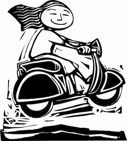 sports scooters - Fun image of a girl on a scooter going over bumps. Stock Photo - Budget Royalty-Free & Subscription, Code: 400-05906736