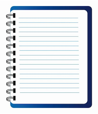 Vector blue notepad isolated over white background Stock Photo - Budget Royalty-Free & Subscription, Code: 400-05906951