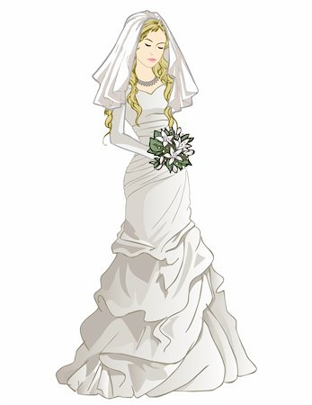 Vector illustration of pretty bride in a wedding gown and holding a bouquet Stock Photo - Budget Royalty-Free & Subscription, Code: 400-05907220
