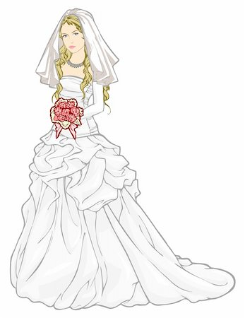Vector illustration of beautiful bride in a wedding gown and holding a bouquet Stock Photo - Budget Royalty-Free & Subscription, Code: 400-05907221