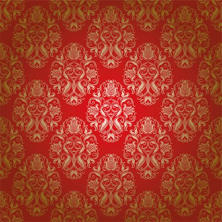 seamless damask floral pattern Stock Photo - Budget Royalty-Free & Subscription, Code: 400-05907427