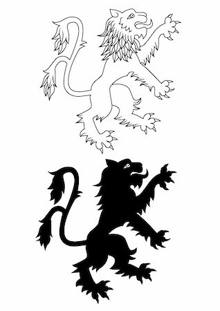 roar lion head picture - Vector Illustration Of Heraldic lion Stock Photo - Budget Royalty-Free & Subscription, Code: 400-05907541