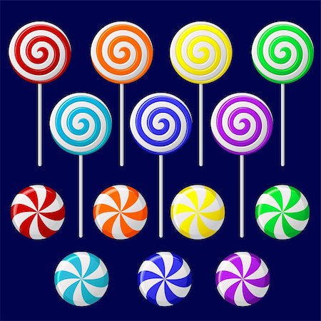 red circle lollipop - Vector set with colorful candies on dark background Stock Photo - Budget Royalty-Free & Subscription, Code: 400-05907753