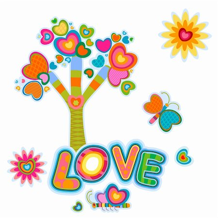 love, retro fantasy tree Stock Photo - Budget Royalty-Free & Subscription, Code: 400-05908034