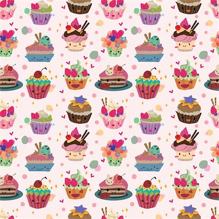 seamless cake pattern Stock Photo - Budget Royalty-Free & Subscription, Code: 400-05908135