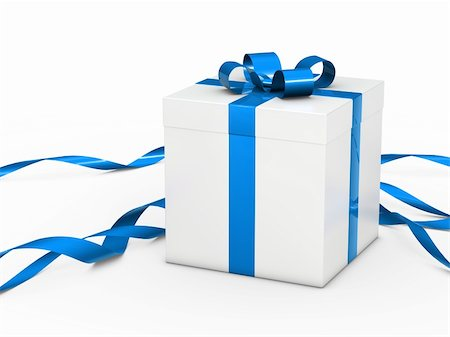white christmas gift box with blue ribbon Stock Photo - Budget Royalty-Free & Subscription, Code: 400-05908177
