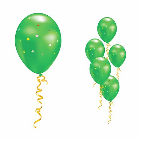 simsearch:400-04369855,k - Green balloons with stars and ribbons. Vector illustration. Stock Photo - Budget Royalty-Free & Subscription, Code: 400-05908324
