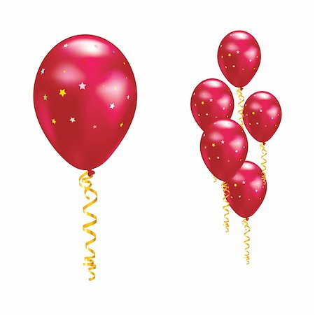 simsearch:400-04369855,k - Red balloons with stars and ribbons. Vector illustration. Stock Photo - Budget Royalty-Free & Subscription, Code: 400-05908327