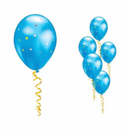 simsearch:400-04369855,k - Blue balloons with stars and ribbons. Vector illustration. Stock Photo - Budget Royalty-Free & Subscription, Code: 400-05908329