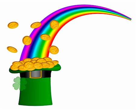 Saint Patricks Day Hat of Gold with Shamrock Coins and Rainbow Illustration Stock Photo - Budget Royalty-Free & Subscription, Code: 400-05908992