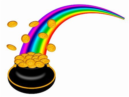 Saint Patricks Day Pot of Gold with Shamrock Coins and Rainbow Illustration Stock Photo - Budget Royalty-Free & Subscription, Code: 400-05908993