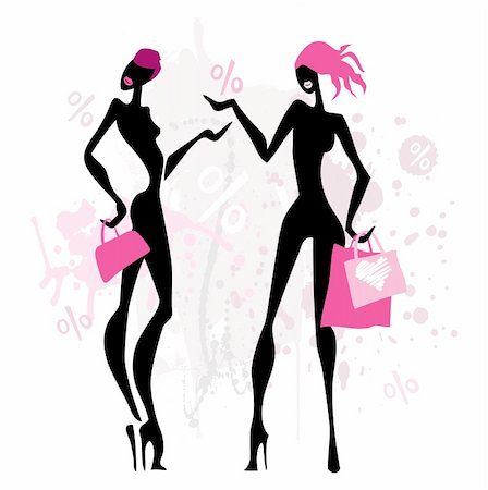 Two women with shopping bags. Vector illustration. Stock Photo - Budget Royalty-Free & Subscription, Code: 400-05909058