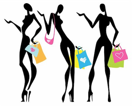 Vector Illustration shopping women with bags.  Isolated. Stock Photo - Budget Royalty-Free & Subscription, Code: 400-05909053