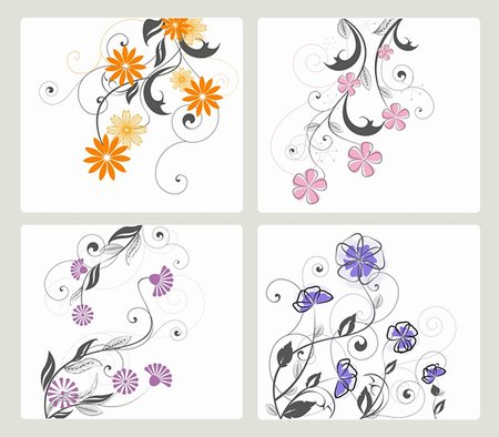 plant leaf paintings graphic - set of floral decoration on white background Stock Photo - Budget Royalty-Free & Subscription, Code: 400-05909157