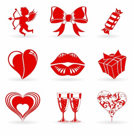 Collect Valentines Day Icons with Hearts, Cupid, Lips and decoration element, vector illustration Stock Photo - Budget Royalty-Free & Subscription, Code: 400-05909341