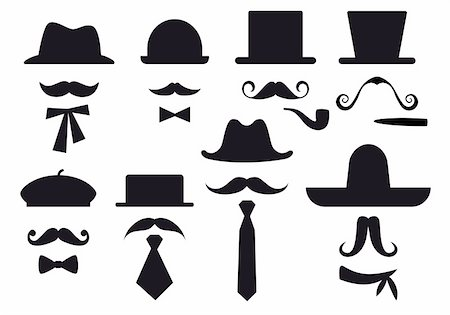 moustaches, hats and ties, gentleman vector set Stock Photo - Budget Royalty-Free & Subscription, Code: 400-05909409