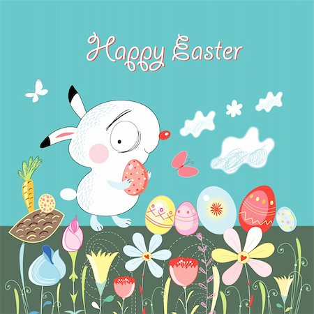 Graphic little Easter Bunny on a blue background with flowers and eggs Stock Photo - Budget Royalty-Free & Subscription, Code: 400-05909402