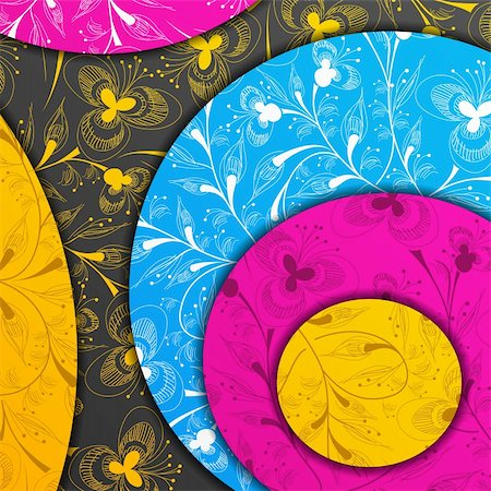 funky flower designs - colored layers, abstract background, stylized flowers Stock Photo - Budget Royalty-Free & Subscription, Code: 400-05909658