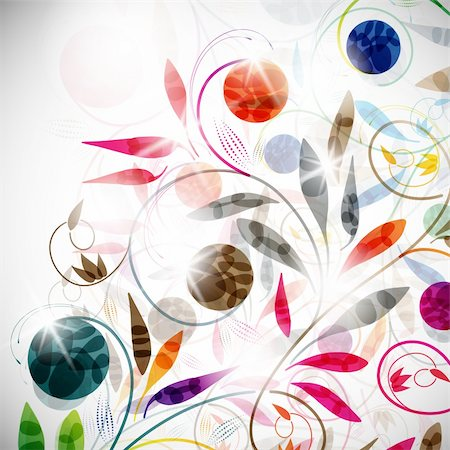 funky flower designs - floral background, vector abstract background Stock Photo - Budget Royalty-Free & Subscription, Code: 400-05909662