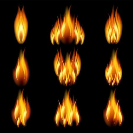 Flames of different shapes on a black background. EPS10. Mesh. Stock Photo - Budget Royalty-Free & Subscription, Code: 400-05909958