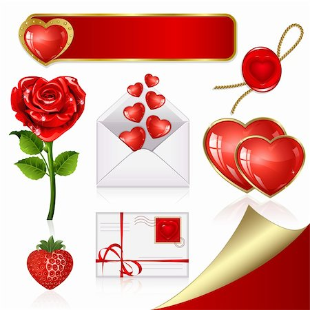 Collection of design elements on Valentine's Day Stock Photo - Budget Royalty-Free & Subscription, Code: 400-05909967