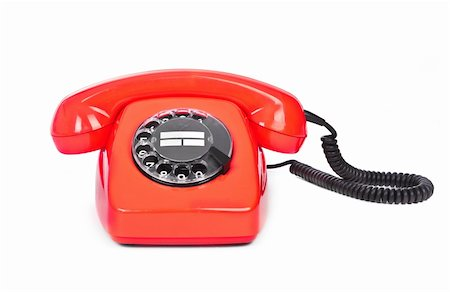 red bakelite phone on white background Stock Photo - Budget Royalty-Free & Subscription, Code: 400-05900788