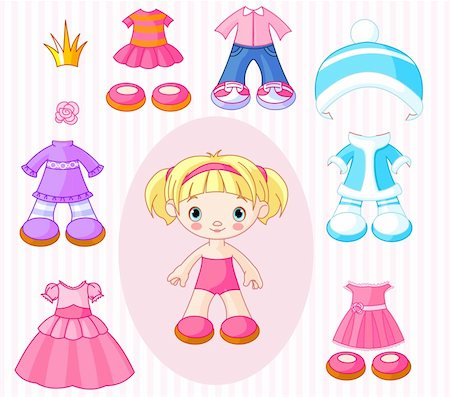 Paper Doll with different clothes Stock Photo - Budget Royalty-Free & Subscription, Code: 400-05901677