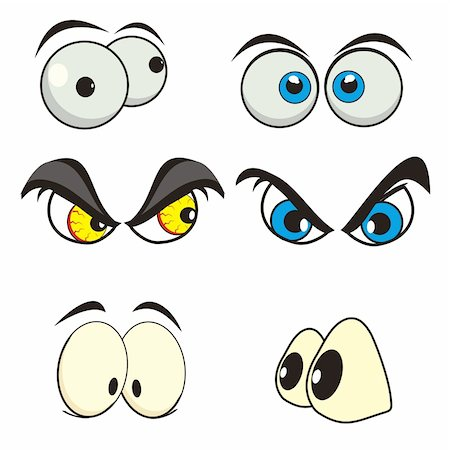 eyes cartoon isolated on white Stock Photo - Budget Royalty-Free & Subscription, Code: 400-05901793