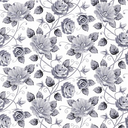 Blue grey roses vector background, repeating seamless pattern isolated on white. Stock Photo - Budget Royalty-Free & Subscription, Code: 400-05902023