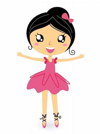 Cute ballet dancer girl. Vector cartoon Illustration Stock Photo - Budget Royalty-Free & Subscription, Code: 400-05902040