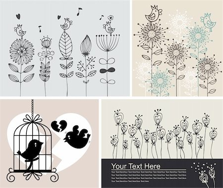 background with birds and flowers Stock Photo - Budget Royalty-Free & Subscription, Code: 400-05903797