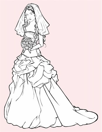 Sketch of beautiful bride in a wedding gown and holding a bouquet Vector illustration Stock Photo - Budget Royalty-Free & Subscription, Code: 400-05903971