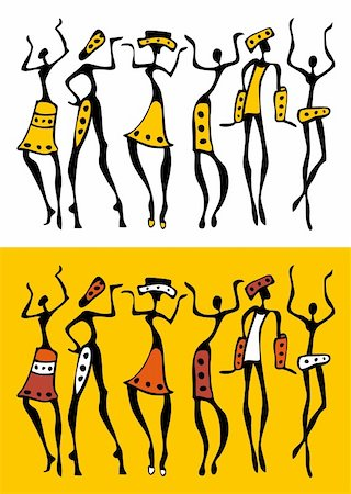 Figures of african dancers . Vector  Illustration. Stock Photo - Budget Royalty-Free & Subscription, Code: 400-05914316