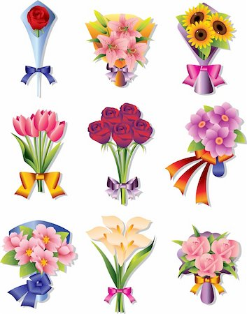 rose vector - flower bouquet icons Stock Photo - Budget Royalty-Free & Subscription, Code: 400-05914343