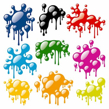 drop painting splash - Set of Color Blots on white background. Vector illustration Stock Photo - Budget Royalty-Free & Subscription, Code: 400-05915091